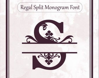 Regal Split Monogram font svg alphabet letters dxf eps png file format, split letters, cricut design space, silhouette, sure cuts a lot