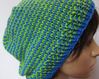 Seahawks Inspired Blue and Green Stripped Beanie