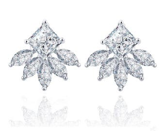 18KT White Gold Plated Cushion Cut Marquis Earring Jacket