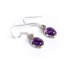 Dangle Amethyst Gemstone Sterling Silver Earrings Simple Jewellery Dainty Jewellery  Free UK Delivery Gift Boxed