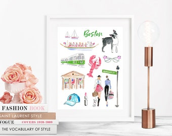 Boston Illustration - Fashion Illustration Printable - Glamour Printable  - Boston printable  - Boston Clip Art - Boston print
