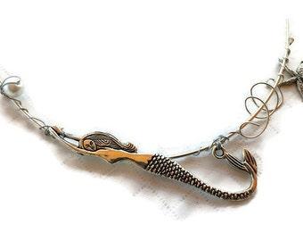 Mermaid Necklace, Mermaid Pendant, Siren, Little Mermaid, Mermaid of the Sea, Mermaid Jewelry, Mermaid, Yemaya, Pursuing Your Dreams Mermaid