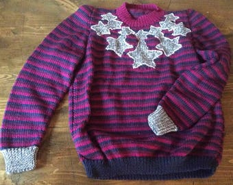 Striped Starburst Sweater by Anna Wilkinson, Tatty Devine x Anna Knits, hand knitting/crochet pattern, DOWNLOADABLE PDF