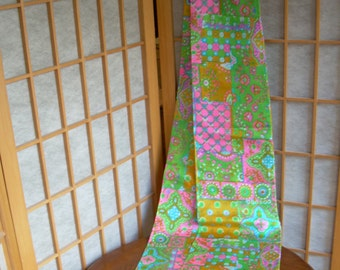 """1960's LONG SCARF with pastel small floral print looks to be UNUSED  Angled ends. 79 in long. Double sided, sewn in three sections. 8""""widest"""