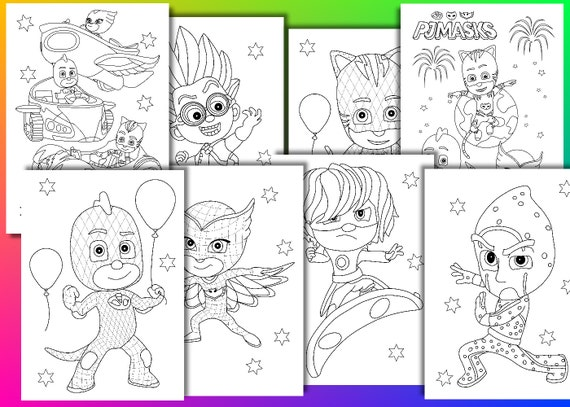 pj masks coloring pages pj masks birthday party favor instant download pdf file - Pj Masks Coloring Pages