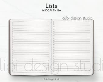 B6 TN, Lists, Midori B6, To Do List, Travelers Notebook, Checklist, Midori Inserts, Traveler's Notebook B6, Grocery List, TN Inserts, Midori