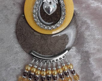Necklace long layering Brown glazed and Ochre yellow wood resin and hand made rhinestone metal