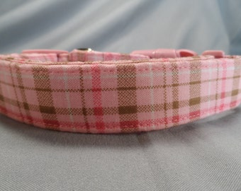 Tan and Pink Plaid Dog Collar