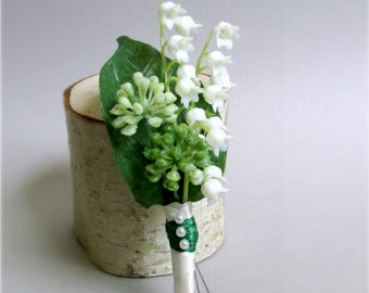 """Set of White Lily of the Valley Boutonnieres, Dark Green Leaves and Satin Wrap, Silk Wedding Flowers, Groom's Boutonniere, """"Rejoice"""""""