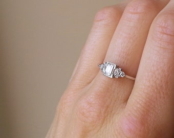 0.50 Carat Emerald Cut Diamond Ring, 18 Carat White Gold Diamond Ring, Anniversary Ring