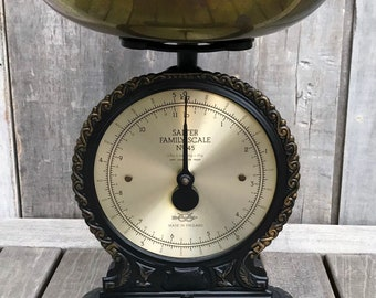 Vintage Victorian Style English Salter Family Scale No 45 Iron Brass 11 lb. 1982 **FREE SHIP**