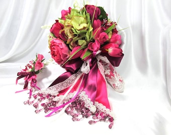 Fuchsia Pink, Burgundy, Green and Cream Cascading Bridal Bouquet and Boutonniere Set
