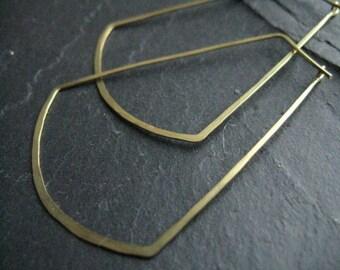 Sun Ray, oversized geometric hoop earrings, large egyptian earrings, large skinny hoops hammered brass hoop earrings
