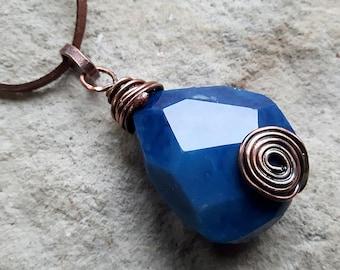 Blue Agate Necklace, Wicca Pendant,  Element Earth Neclace, Wicca Necklace, Agate Stone pendant,  Element Earth, Natural Stone Necklace,