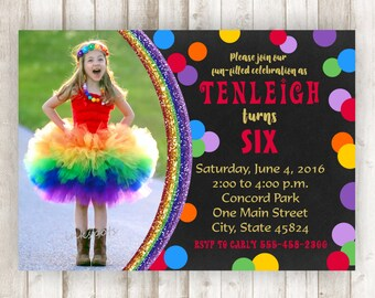 Rainbow Invitation - Rainbow Birthday Invitation - Rainbow Party - Rainbow Invite - Glitter Birthday Invitation - Chalkboard Invite BRRA07