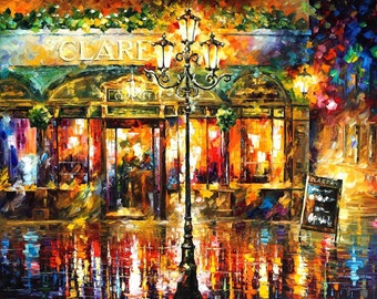 London Wall Art England Painting On Canvas By Leonid Afremov - Misty Cafe