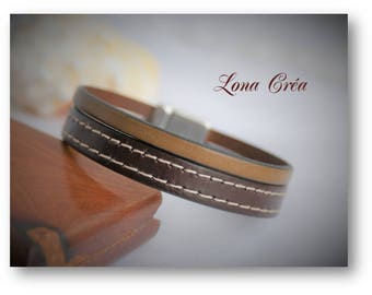 Mens fashion brown leather bracelet and camel, zamak, ethnic leather bracelet, Bohemian leather bracelet, chic mens bracelet clasp
