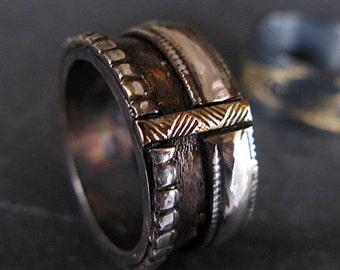 Size 7 Viking Wedding Ring Mens Wedding Band Wide Gold Silver Ring Mens Wedding Ring Mens Wedding Rings Unique Wedding Band Wedding Bands