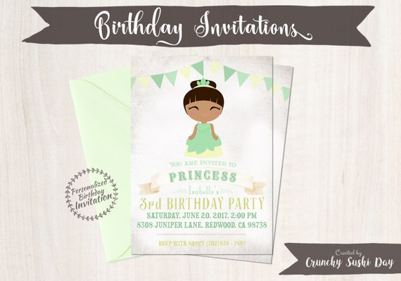 Princess Tiana Birthday Invitations,  Customizable, Princess, Girl Birthday Invitations, Tiana Birthday, Printable, Party, Fairy Tale 062