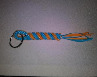 Unique Hand Weaved Blue and Orange Keychain