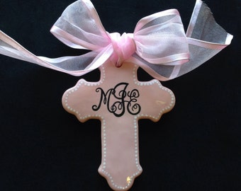 Pink Personalized Cross Ornament- Easter, Baptism, Christening or Baby Shower Gift