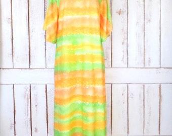 Vintage orange/yellow/green striped muu muu caftan maxi dress/flutter sleeve tent dress/striped maxi kaftan dress