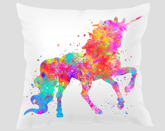 Unicorn #4 Throw Pillow, Watercolor Unicorn Pillow, Pillow Cover, Accent Pillow, Nursery Decor, Kids Room Decor