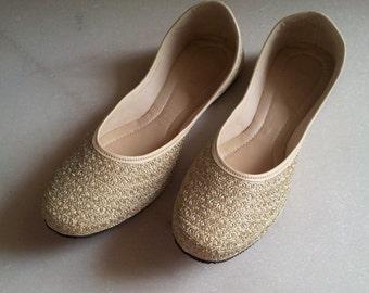 Gold Flats/Champagne Flats/US Size 6/Nude Wedding Flat/Beige Women