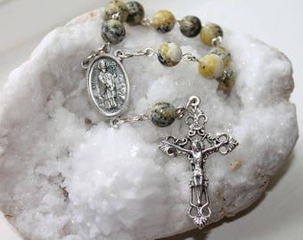 St. Patrick/St. Bridget Catholic Pocket Rosary with Yellow Turquoise--Catholic Pocket Rosary-Irish Rosary-Handmade-Ships Free