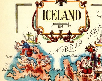 Pictorial Vintage ICELAND Map of Iceland Print HUMOROUS Travel Map Gallery Wall Art Gift for Boyfriend Birthday Gift