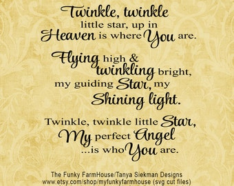 """SVG, & PNG - """"Twinkle Twinkle little star, up in Heaven is where You are"""""""