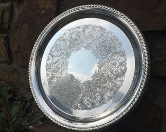 Vintage William Rogers and Sons Silver Serving Tray