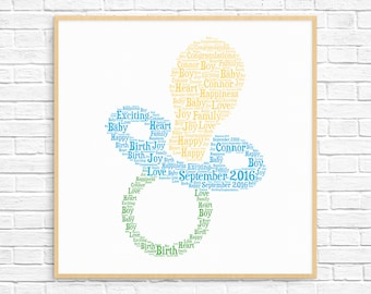 Personalized PREGANACY / BIRTH GIFT - Word Art - Art Print - Printable Art - Unique New Baby Gift For New Arrival - Baby Boy Soother