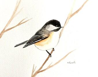 Chickadee Original painting Chickadee art Bird illustration Bird artwork Wall art Bird lover gift idea Birthday present 10 x 7