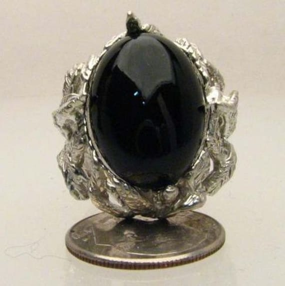 Black Onyx Cab Ring 12.5ct 10 grams of Solid Sterling Silver.   Custom Sized to fit you.