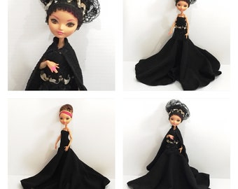 CLEARANCE SALE - Goth Dress, Cape, Headpiece and Belt - made to fit dolls like Articulated Ever After High Dolls - Handmade Doll Clothes
