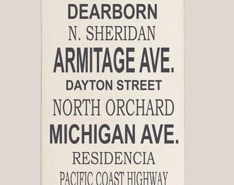 Customized Subway Sign, Wood Sign, Subway Wood Wall Sign, Subway Art, Typography Wood Sign, Street Sign Wood, Wall Hanging, Subway Sign