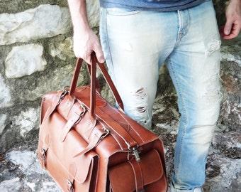 "Apollo Weekender Original Leather Bag • 20""Handmade Full Grain in Tobacco • Waxed Brown or Dark Brown • Travel Duffel Bag"