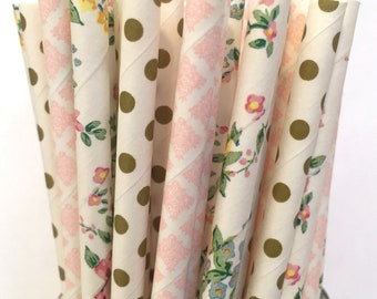 2.85 US Shipping -Floral Paper Straws - Gold and Pink and Flower Straws - Cake Pop Sticks - Drinking Straws - Blush Pink