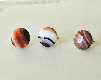 agate ring, black and white jewelry, gemstone ring