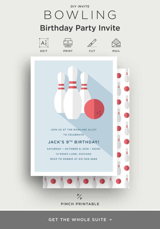 Text Editable Bowling Birthday Party Invitation Kids