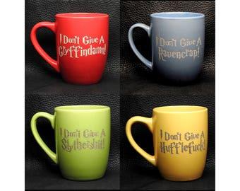 "Set of 4 ""Hogwords"" Laser-Engraved 12 oz Stoneware Coffee Mugs"