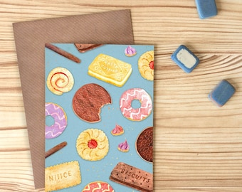 Biscuit Pattern Greetings Card, Party Snacks Blank Card, Confectionery Card