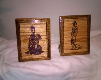 Geisha Girl Set of Two Oak Wood Carved Engravings