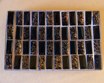Vintage 1960's - 70's Mosaic Tile Tray Black with Gold flecks