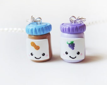 Peanut Butter and Jelly Jars Best Friends Necklace Set