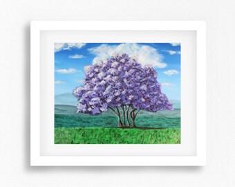 Tree Art Print, Original Painting, Purple Tree Wall Art, Jacaranda Tree, Original Art Print, Tree Print, Tree Painting