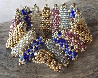 Peyote Stitch Columns Bracelet Cuff
