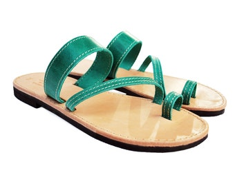 Greek Leather Sandals in Green Color