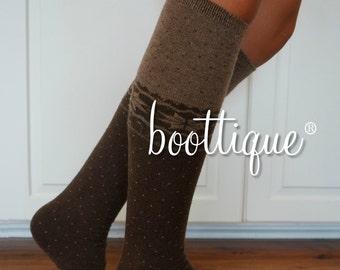 CLOSEOUT!  Snowflake Scandinavian Boot Cozies- Angora Wool, Ultra Soft, Espresso and Mocha Two-Tone Nordic Leg Warmers, Sweater Socks